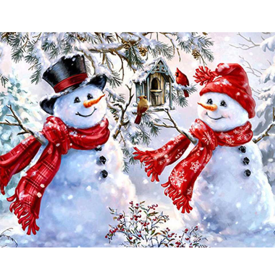 5d Diy Diamond Painting Winter Diamond Embroidery Snowman Christmas Decorations For Home Rhinestones Pictures Crafts-0