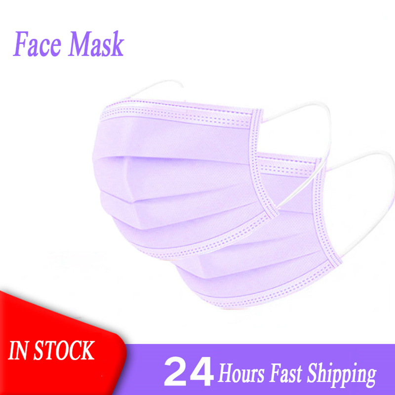 10/20/50/100/200pcs /Set Purple Mouth Mask Disposable Cotton Mouth Face Mask 3 Layers Filter Non-Woven Earloop Mask In Stock