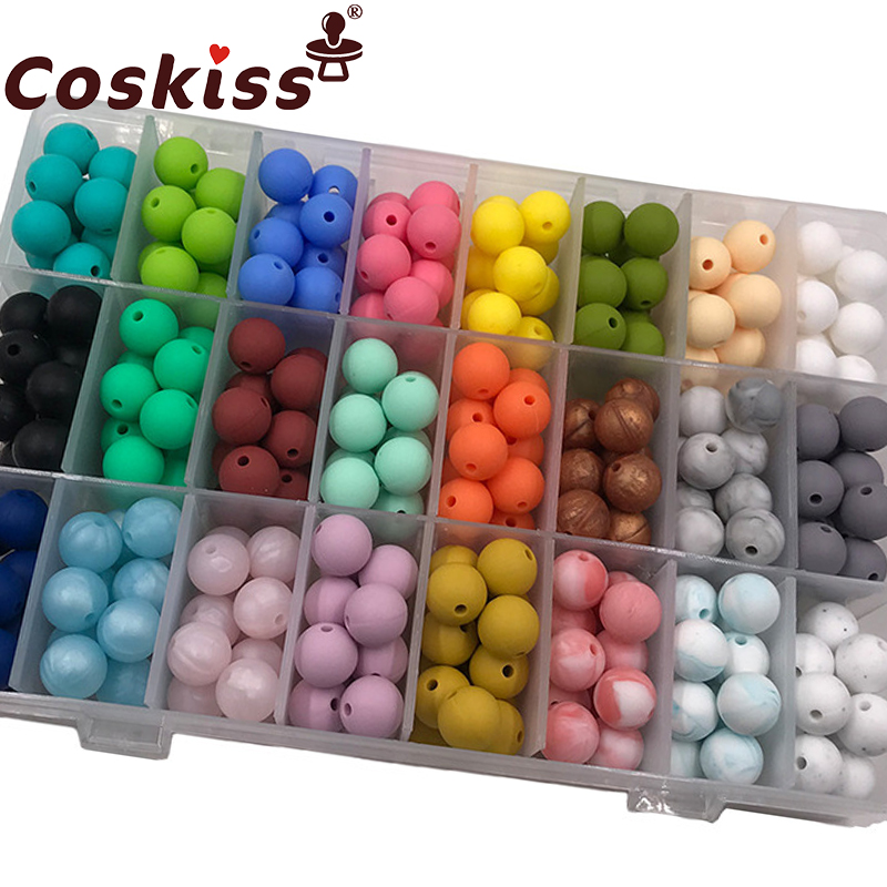 Coskiss Baby Silicone Beads 15mm 40pc Baby DIY Beads BPA Free Silicone Teether Beads Baby Chewable Beads Nursing Accessory
