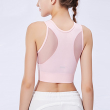 Sports Bra Breathable Mesh Padded Yoga Bra Activewear Athletic Gym Seamless Tops