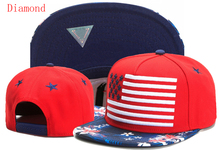 цена на Diamond Red and blue and flowers White hip hop snapback hats  caps for men women summer National flag baseball cap
