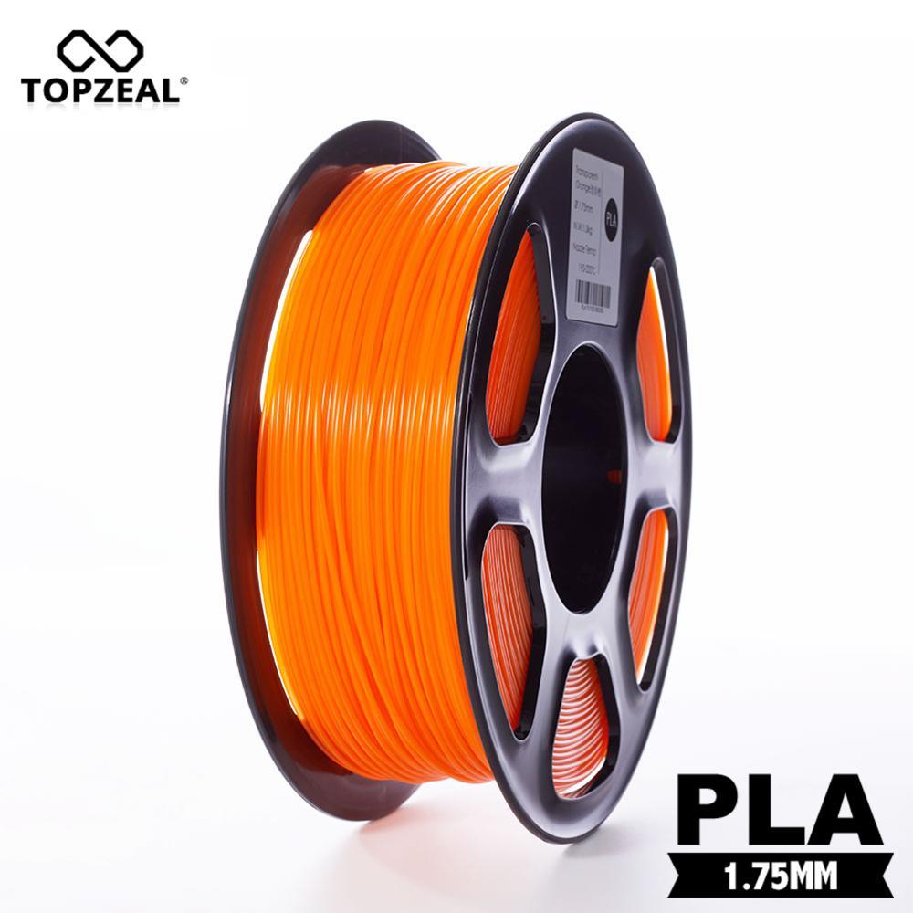 topzeal claro pla cor laranja transparente 3d filamento plastico 1 75mm 1 kg precisao dimensional 0