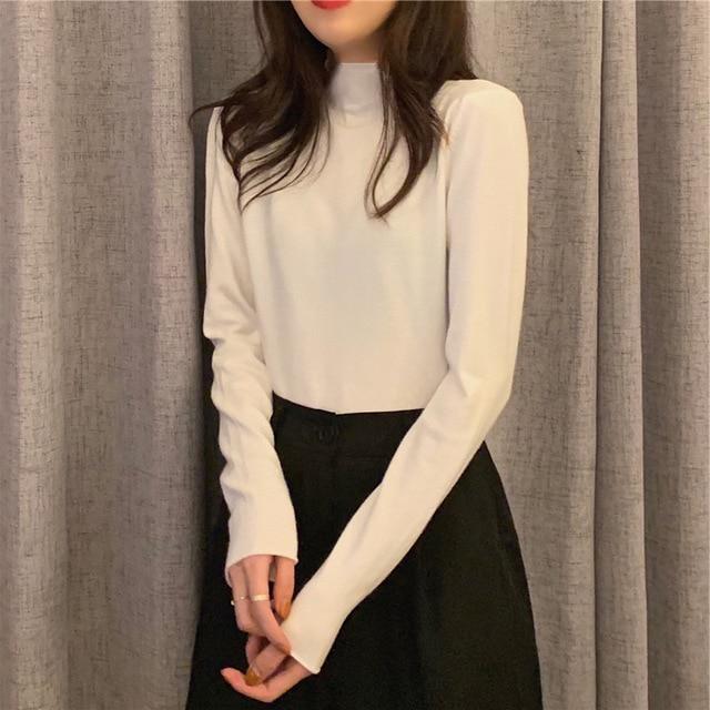 2021 autumn Black White solid Women Long Sleeve T-shirts half Turtleneck Female T-shirt Casual slim T shirt Bottoming Shirt top 3