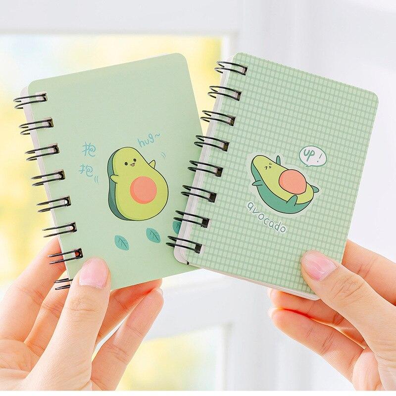 A7 Adorable Cute Avocado Rollover Mini Portable Coil Notepad Diary Book Exercise Book Escolar Papelaria School Office Supply