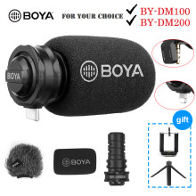 Boya por microfone dm100 a7h digital, condensador estéreo, para iphone, samsung, android, ipad ipod 3.5mm
