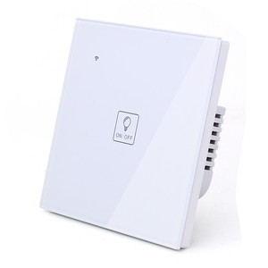 Image 2 - WIFI Touch Light Icon Wall Switch White Glass Blue LED Universal Smart Home Phone Control 4 Gang 2 Way relay Alexa Google Home