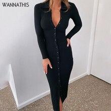 WannaThis Long Sleeve Party Dresses Women Button Knitted Ankle-Length V-Neck Skinny Autumn  Sexy Dresses Women Cotton Split Hem