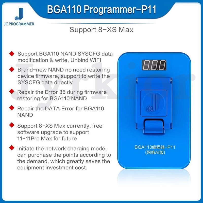 JC P11 3 In 1 BGA110 PCIE Programmer For IPhone 8 /8 Plus /X/ XR/ Xs / Xs Max 11/11 Pro Max NAND SYSCFG Data Modification Repair