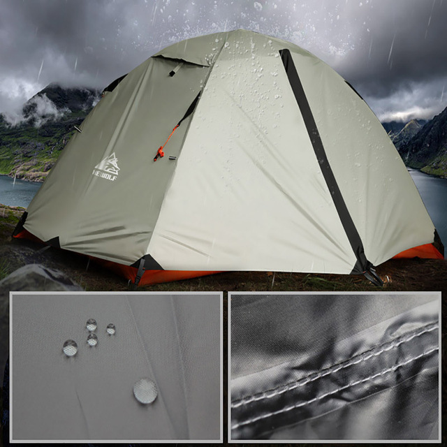 Hewolf Outdoor Professional Double-layer Tent Wild Snow Mountain Camping Equipment Multi-Person Ultra-light Snow Skirt Tent 6