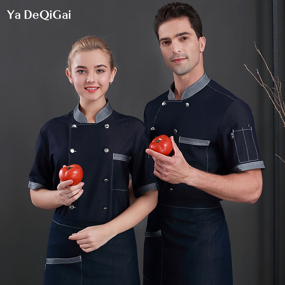 Summer Short-sleeved Denim Chef Clothes Hotel Restaurant Overalls Breathable Chef Uniform Unisex Kitchen Cooking Uniform Shirts