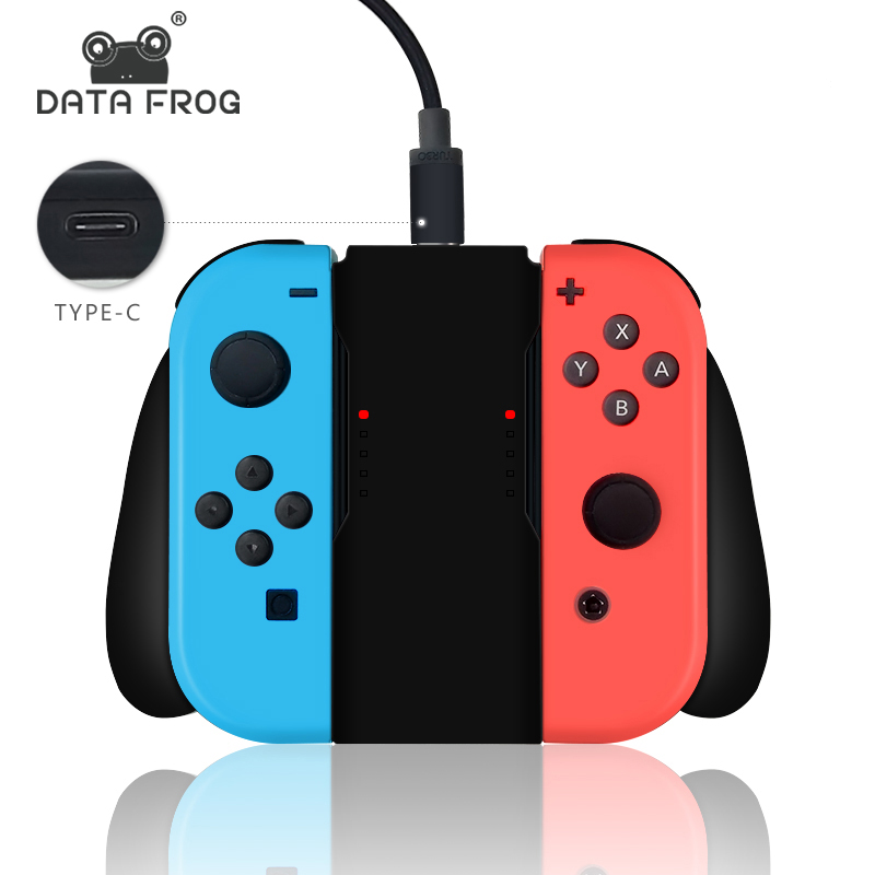 DATA FROG Grip Handle Charging Dock Station Charger Chargeable Stand For Nintend Switch Joy-Con NS Handle Controller Charger