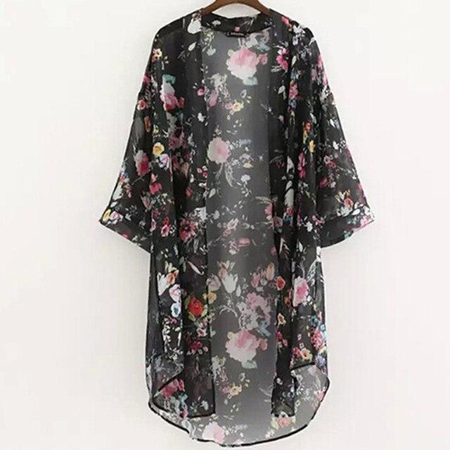 Women Vintage Floral Chiffon Shirts Small Fresh Simple Long Sunscreen Blouse Loose Shawl Kimono Cardigan Boho Tops 3