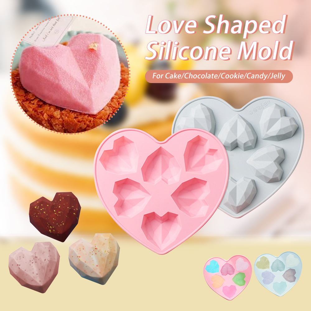 6 Cavity Silicone Cake Mold 3D Diamond Love Heart Shape Mold Mousse Chocolate Cookie Baking Decorating Tool DIY Baking Moulds