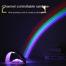Creative Rainbow Projection Lamp, Colorful Color Changing Night Light, Romantic Projector for Bedroom