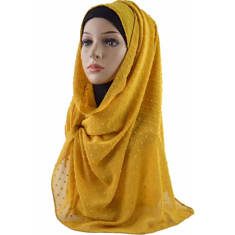 Image 3 - New Arrival Plain Pom Chiffon Hijab Scarf Muslim Shawl Solid Color Headband Wrap Turban Shawls Scarves 10PCS/Lot-in Women's Scarves from Apparel Accessories