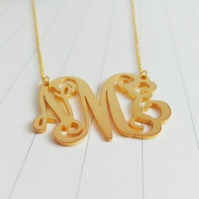 Initial Monogram Necklace Personalized Gold Custom Jewelry