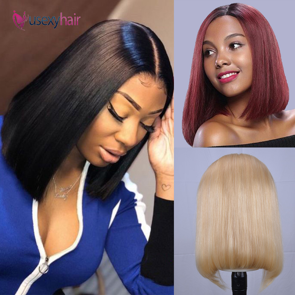 Short Lace Front Human Hair Wigs Blonde 613 Bob Lace Front Wig Brazilian Straight Bob Wig Preplucked With Baby Hair 13x4 150%