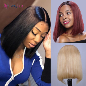 Short Lace Front Human Hair Wigs Blonde 613 Bob Lace Front Wig Brazilian Straight Bob Wig Preplucked with baby hair 13x4 150%(China)
