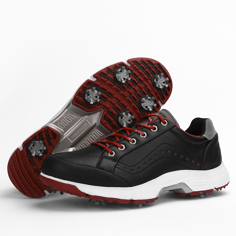 Men Professional Golf Shoes Waterproof Spikes Golf Sneakers Black White Mens Golf Trainers Big Size Golf Shoes for Men 15