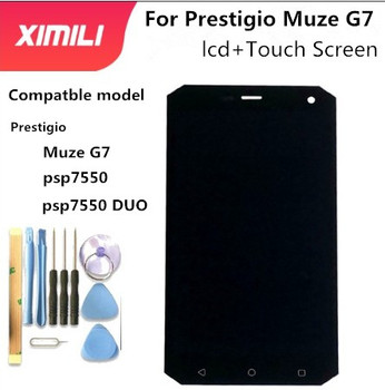 Original 5INCH For Prestigio Muze G7 LTE psp7550 psp7550DUO psp7550 DUO LCD Display Touch Screen Digitizer Assembly parts prestigio grace s5 lte psp5551 duo psp 5551 duo lcd display touch screen digitizer panel sensor lens glass assembly 5 5