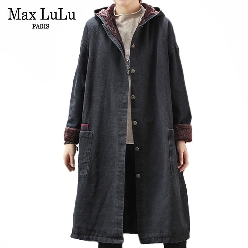 Max LuLu Fashion Korean Designer Punk Clothes Ladies Denim Hooded Fur   Trench   Coats Vintage Womens Winter Oversized Windbreakers
