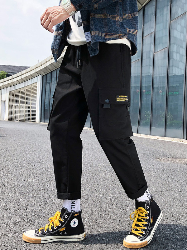 Bib Overall Men Casual Trousers Korean-style Trend Versatile Straight-Cut Loose-Fit Spring And Autumn Sports Men's Trousers Autu