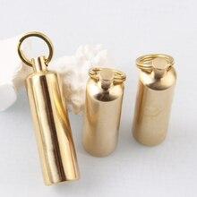 Encendedor de Metal de latón portátil, 1 uds, de gasolina dorada, muela de molienda Retro, Mini llavero impermeable al aire libre, encendedor
