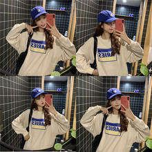 Women Autumn Spring T-shirt 2019 New Fashion Letter Printed T Shirt Vintage Halajuku Loose Casual Long Sleeve Solid tshirt Tops
