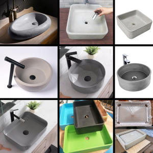 Silicone Mold Concrete Sink Round-Sink Cement Rectangle for Outdoor Pool Diy