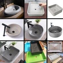 Évier rectangulaire en béton et en silicone, moule de bricolage pour ciment, évier rond, moule de piscine en extérieur