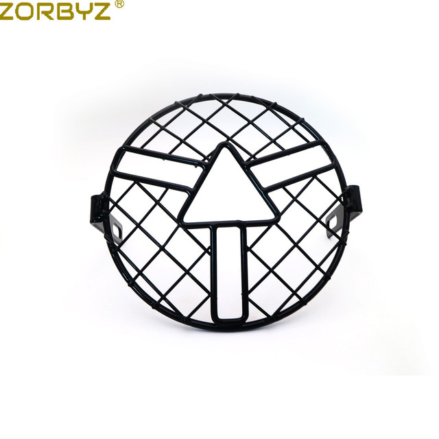 ZORBYZ 7″ Retro Vintage Motorcycle Black Grill Arrow style Side Mount Headlight Cover Mask For CB400 CB500 Custom