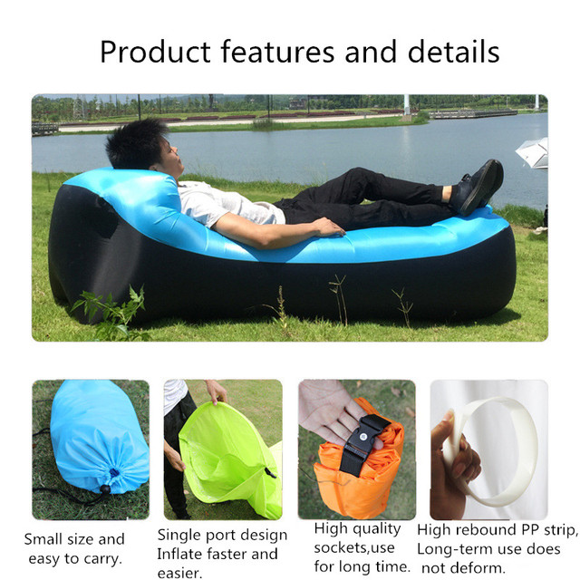 Lazy Pillow Waterproof Lazy Inflatable Sofa Portable outdoor beach air sofa bed Sleeping bag bed Oxford cloth 240*70cm 3