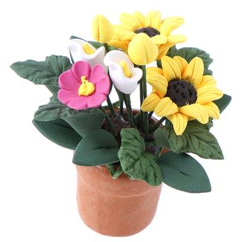 1 12 domek dla lalek miniaturowe kwiaty wróżka ozdoba ogrodowa Mini roślina doniczkowa kwiaty doniczka domek dla lalek Bonsai Model zabawka dla dzieci tanie i dobre opinie 2-4 lat 8-11 lat Dorośli 5-7 lat 12-15 lat Żywica