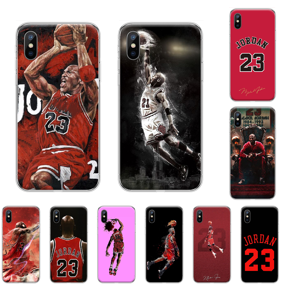 Basketball 23 Jordan Cover Black Soft Shell Phone Case For Iphone 4 4s 5 5S SE 5C 6 6S 7 8 Plus X XS XR 11 PRO MAX