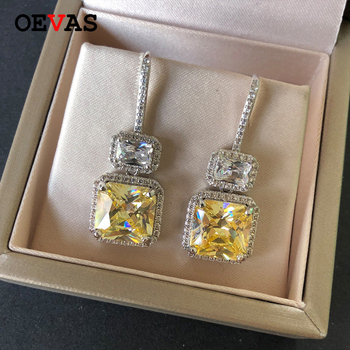 OEVAS Trendy Luxury Famous Design Sparkling 3A Cubic Zirconia Women Dangle Earrings For Wedding Tassel Earrings Pendientes Mujer