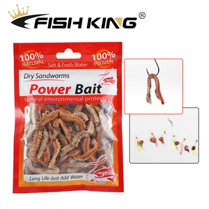 FISH KING 1pack Natural Live Fishing Lures Dry Sandworms Fishy Smell Soft Bait Freshwater For Feeder Catfish