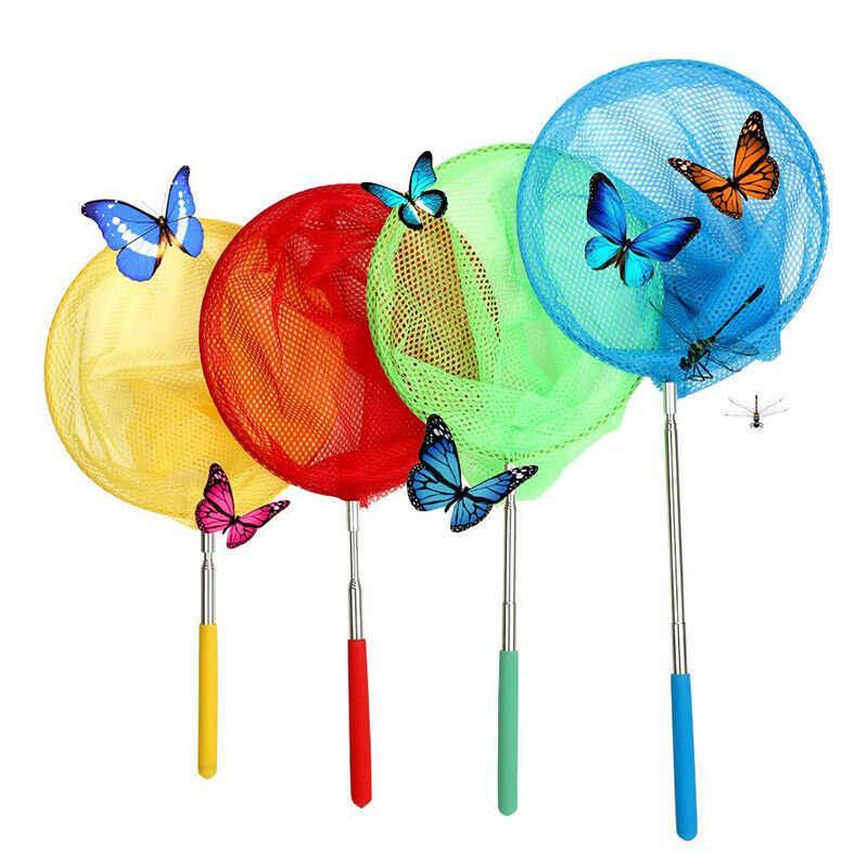 Crianças Borboleta Extensível Telescópica Lidar Com o Mar Pesca Bug Bug Insect Net Malha Pólo Peixe de Aço Inoxidável Borboleta Catcher Net