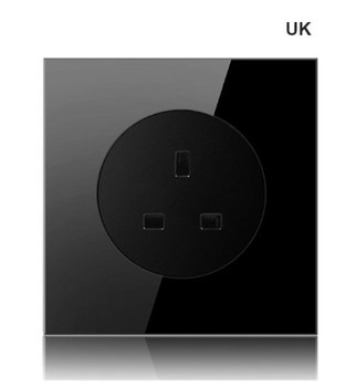 High-grade 1 2 3 4 gang 1 2 way big panel black switch socket Type 86 Wall 2.5D Cambered Mirror Toughened glass Computer TV 17