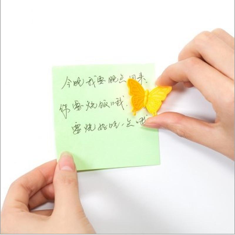 6pcs קישוט הערה מיני מלאכות בית הודעה מחזיק מקרר מגנט נייד ABS צורת פרפר חמוד לוח אבזרים
