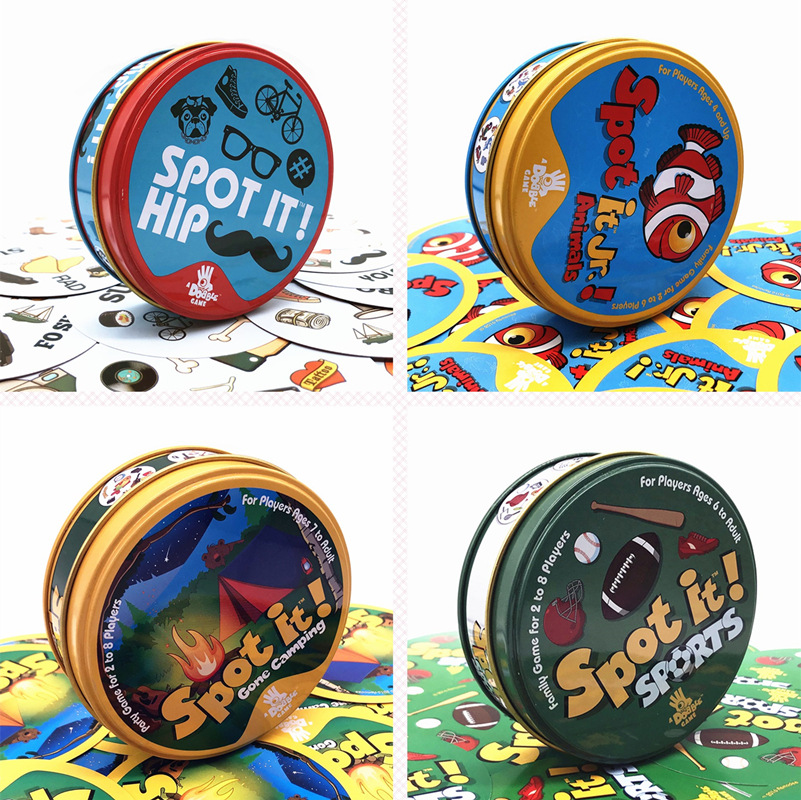 55PCS/Set Spot It Dobble Cards Game Dobble Animals Kids Sports Gone Camping Juego De Mesa Spot It Game Card For Fun Cards Toys