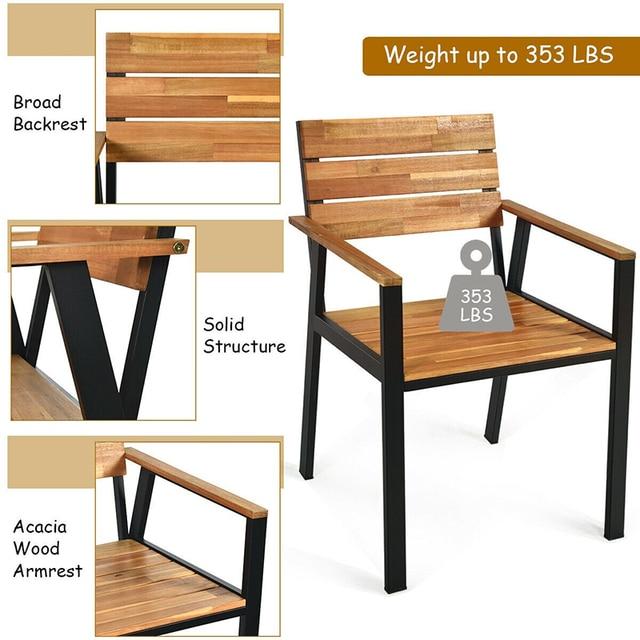 5 Pcs Patio Dining Chair Set with Umbrella Hole Weather Resistance & Umbrella Hole Design Patio Dining Set  Natural Design 2