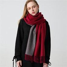 Зимний кашемировый шарф, женские толстые теплые шали, Женские однотонные шарфы, Модные кисточки из пашмины, одеяло, качественная шаль 2020, Новинка