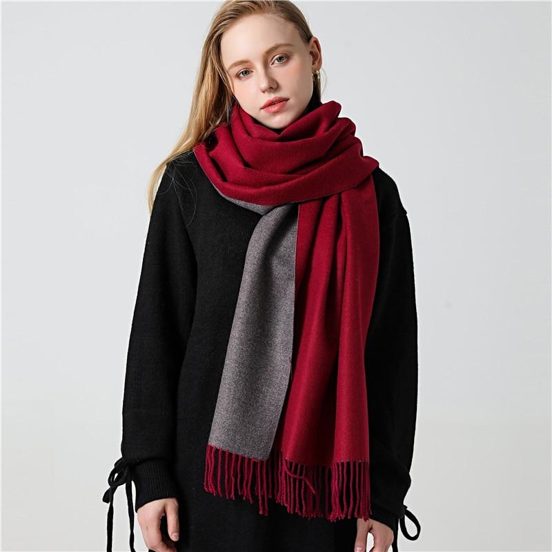 Winter Cashmere Scarf Women Thick Warm Shawls Wraps Lady Solid Scarves Fashion Tassels Pashmina Blanket quality foulard 2020 New|Women