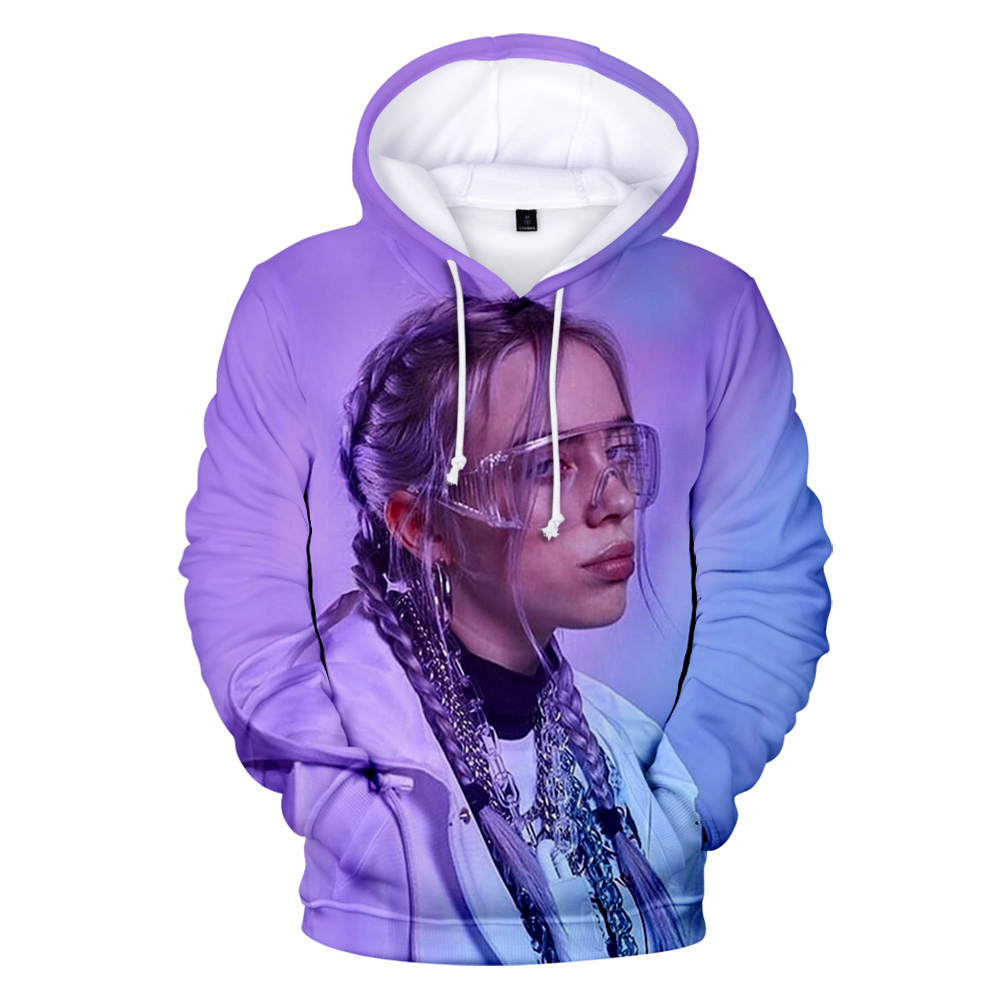 Print Hooded 3D American Singer Billie Eilish Hoodies Hip Hop Women Men Sweatshirts Billie Eilish 3D Hoodie Autumn Girls Tops