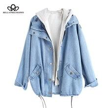Bella哲学秋冬ボタンアップ女性デニム女性ジャケットフード付き2ピース3XL女性のジーンズプラスサイズの女性コート