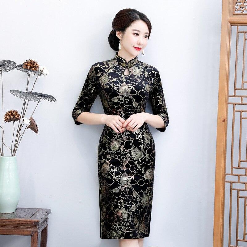 Flower Hongmei Cheongsam Autumn And Winter New Style Bronze Velvet Cheongsam Mid-length Chinese Style Retro Cheongsam Bronze Vel