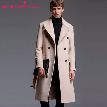 Men Casual Work Long Wool Coat Winter Fashion Turn-Down Collar Business Double Breasted Cashmere Army Solid Thick Coat E25