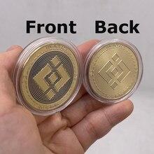 1 pçs binance moeda criptomoeda colecionável moeda de ouro bnb bitcoin coleção de arte física moeda comemorativa de ouro