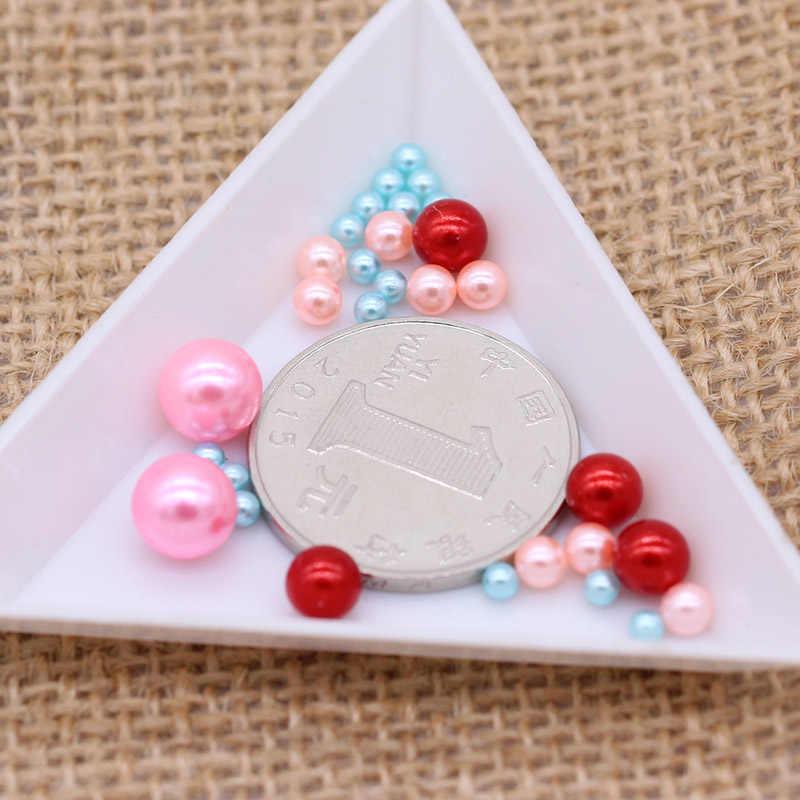 3/4/6/8mm okrągły kolor bez otworu akrylowe imitacja perły koralik luźne koraliki dekoracji Diy biżuteria nakrycia głowy naszyjnik Making dla kobiet