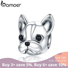 BAMOER 925 Sterling Silver Loyal Partners French BULLDOG Doggy Animal Beads fit Women Charm Bracelets Dog DIY Jewelry SCC315(China)